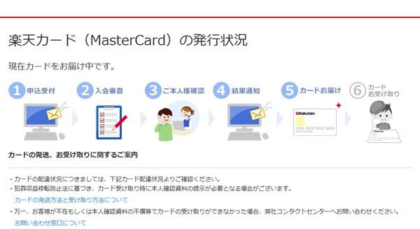 楽天カードの発行状況ページ